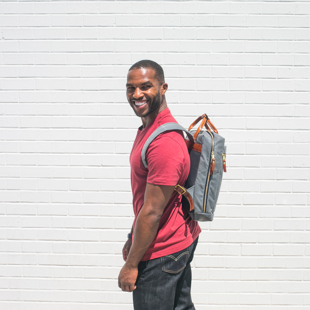 usa-made backpack charcoal waxed canvas