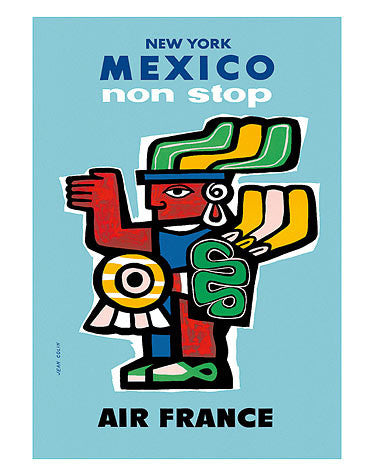 Vintage Airline Poster - Mexico/Air France