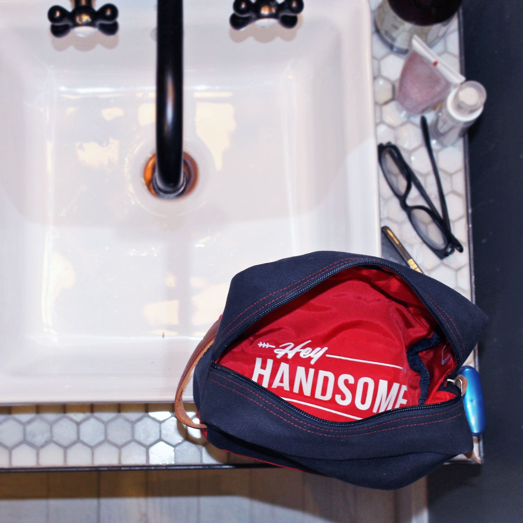 Hey Handsome Shaving kit Bag Navy