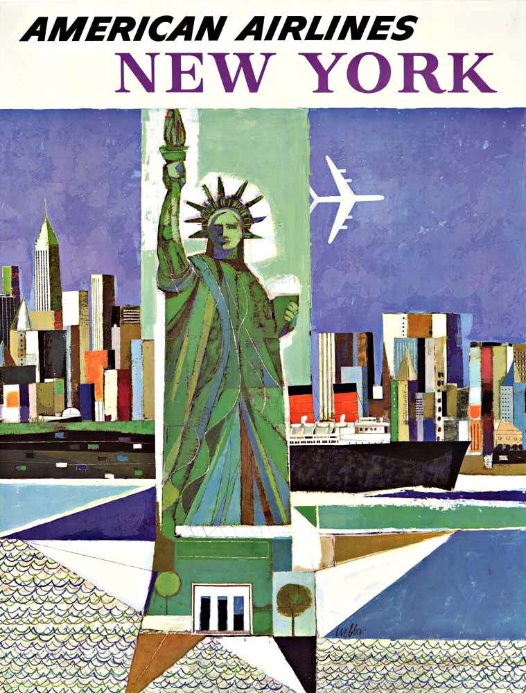 Vintage Airline Poster - American Airlines, New York