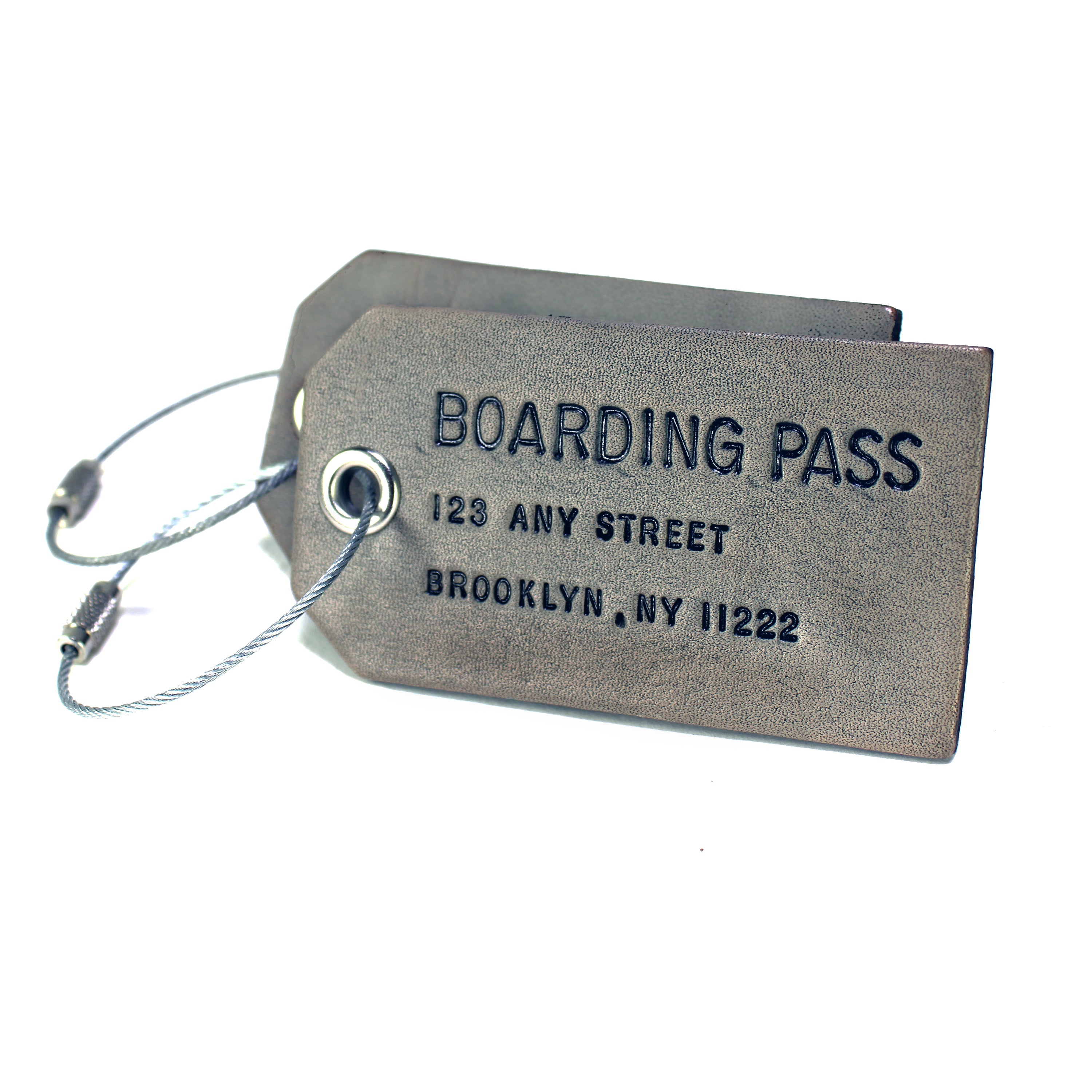 A Pair of Custom Smoke Grey Leather Luggage Tags