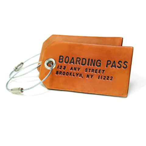 A Pair of Custom Leather Luggage Tags
