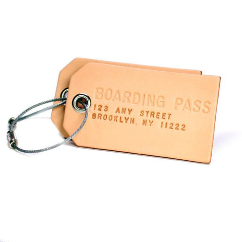 A Pair of Custom Natural Leather Luggage Tags