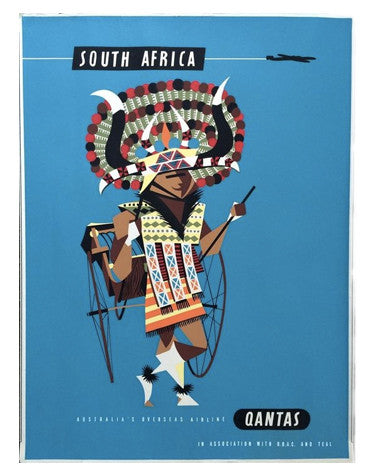 Vintage Airline Poster - South Africa/Qantas