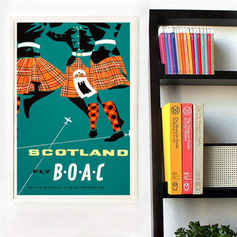 Vintage Airline Poster - BOAC Scotland