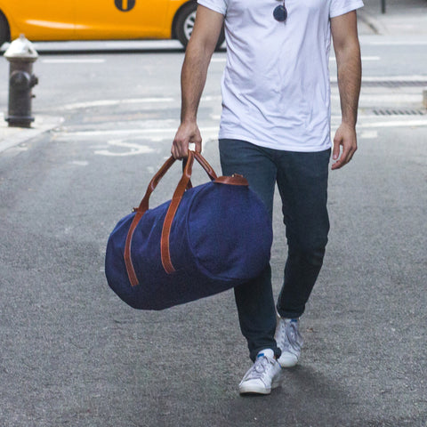 navy canvas weekender overnight bag