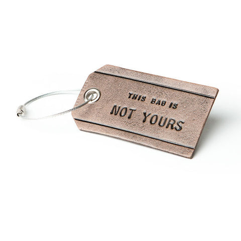 This Bag is Not Yours Leather Luggage Tag - Grey
