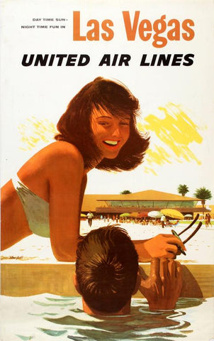 Vintage Airline Poster - Las Vegas, United Airlines