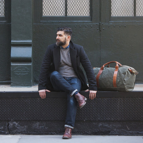 army green canvas weekender overnight bag