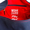 "Navy on Navy ""Work Hard, Play Hard"" Duffel"