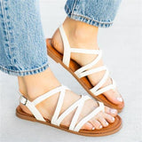 Women Fashion Buckle Strap Flat Heel Flip-Flops