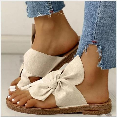 Women Bowknot Daily Comfy Slip On Sandals
