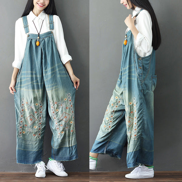 Autumn Embroidered Bib Pants Loose Wild Cotton Jeans