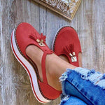 Women's Leather Fringed Platform Mary Jane Flat Shoes
