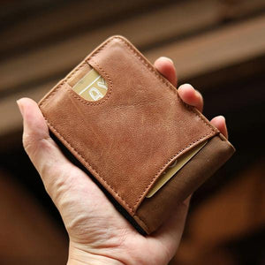 Handmade Retro Solid Leather Short Bifold Wallet