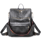 Fashion Leather Backpack With Rainbow Strap