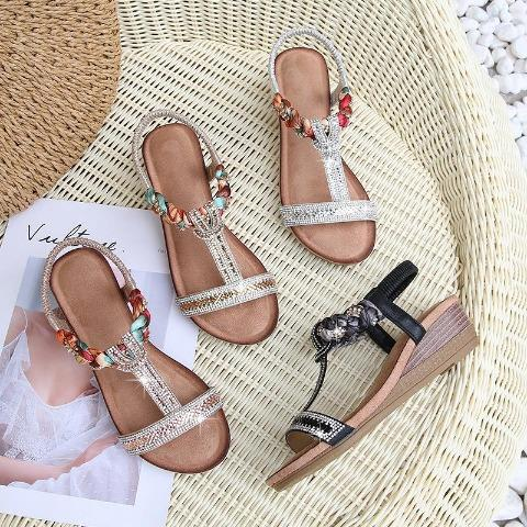 Boho Shiny Wedges Sandals