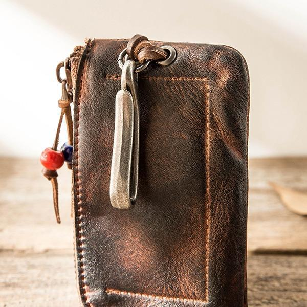 Vintage Handmade Leather Zipper Card Bag Car Key Case