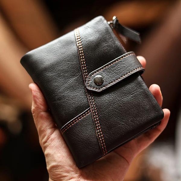 Multifunctional Leather Bifold Small Wallet