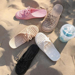 Women's Hollow Out Lace-Up Slides Breathable Sandals