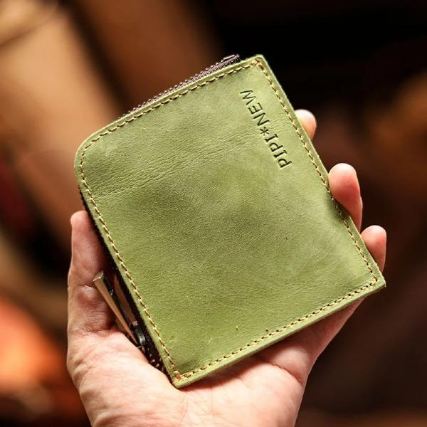 Handmade Leather Short Zipper Small Wallet