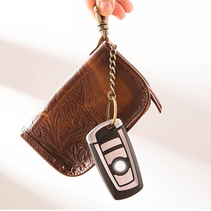 Handmade Leather Mens Small Car Key Wallet