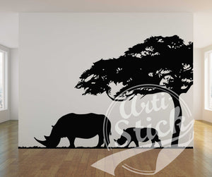 Rhino and tree landscape