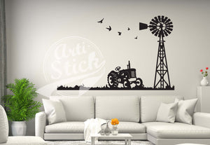 Tractor and windmill