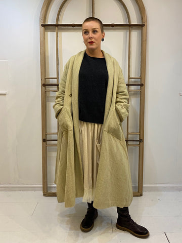 JEANETTE Rustique Twill Coat with Belt - Oat