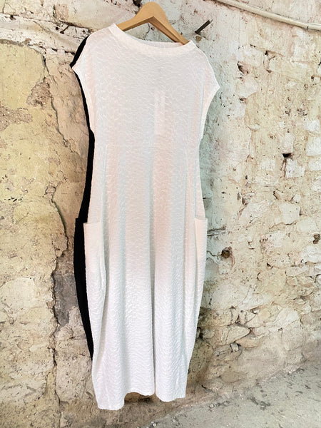 NEIRAMI DS1124 CHALK EMBOSSED JERSEY CAP SLEEVE DRESS