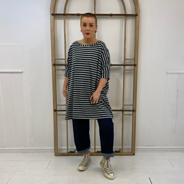 B43 Striped Oversized T-shirt - Navy & Aqua