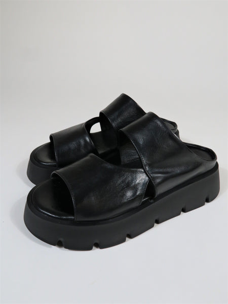 Chunky Curve Strap Wedges Ground SM24 - Black
