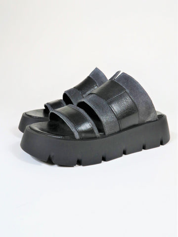 Chunky Wide Strap Wedges JK48 - Black/Charcoal