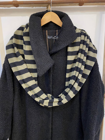 A2 NERI Wide Stripe Cowl Loop Scarf - Black/Sage
