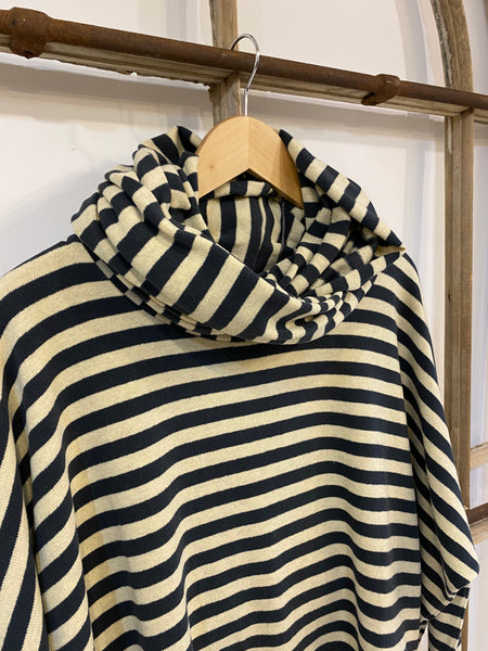 A2 NEST Narrow Stripe Cowl Loop Scarf - Petrol/Ecru
