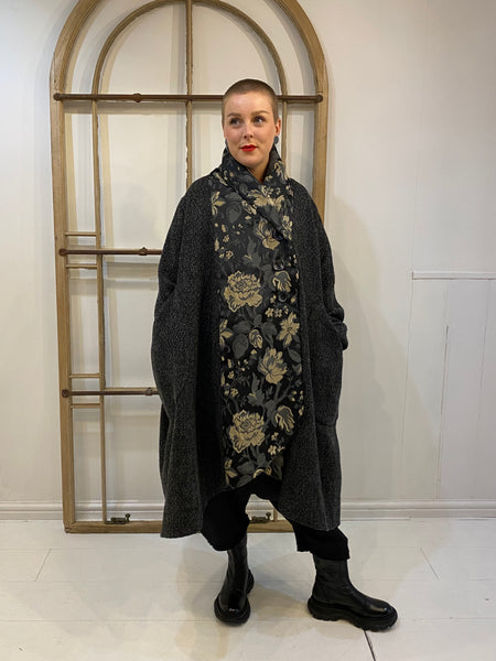 6022 Tweed + Jacquard Coat - Charcoal
