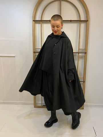 6047 Plain Taffeta Coat - Black
