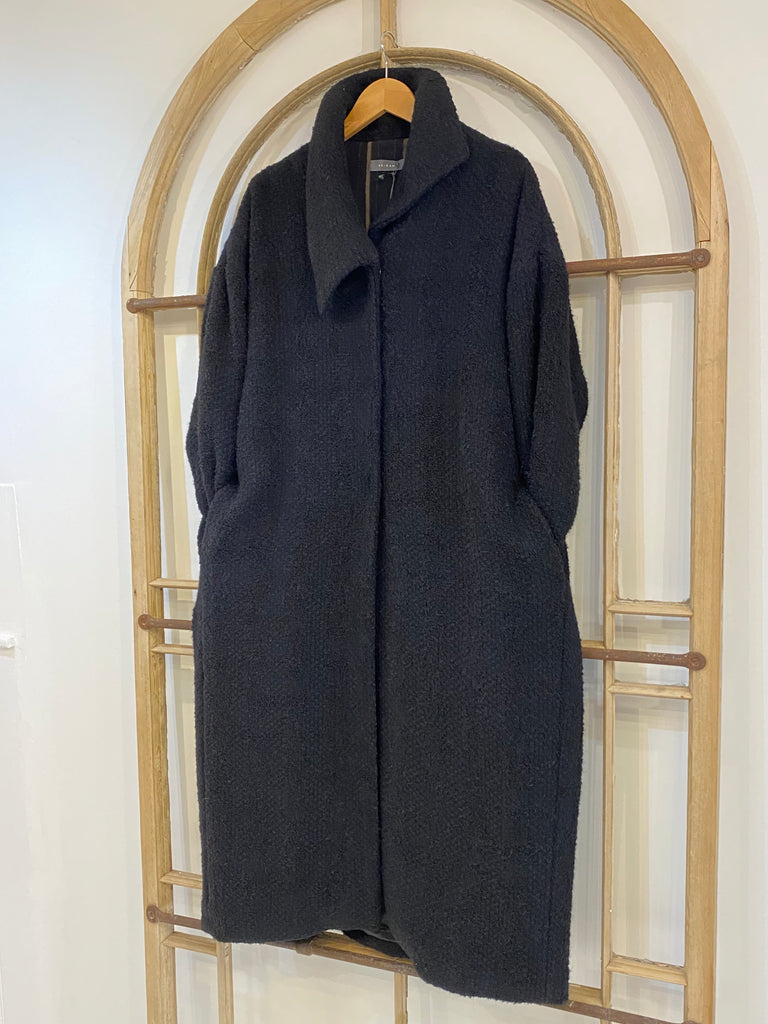 C211 BO Bouclé Long Coat - Black