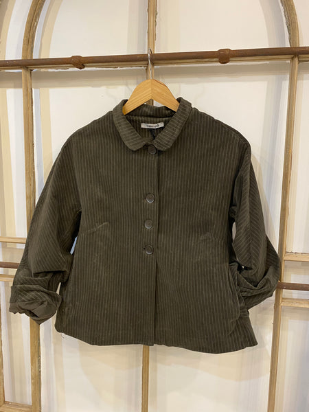 BRANDY Moleskin Pinstripe Jacket - Coffee
