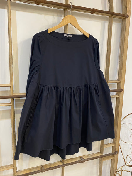 CURZIA Gathered Top - Navy