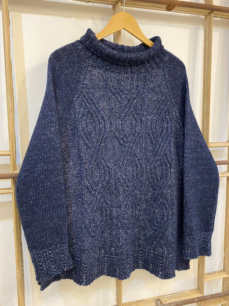 MARISA Cable Knit A Line Jumper - Navy Marl