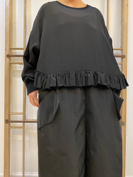 ALBANA Taffeta Frills Dress - Black