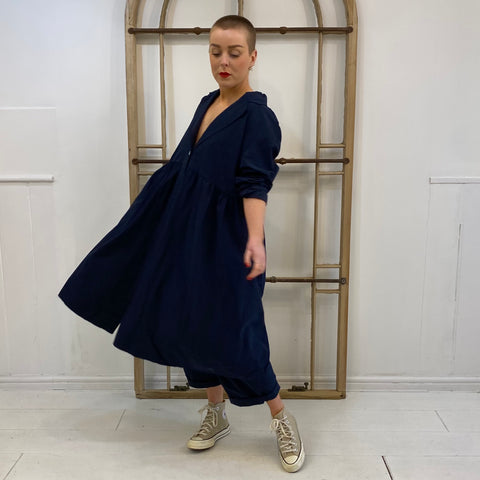 8775 Gathered Waist Duster Coat - Navy