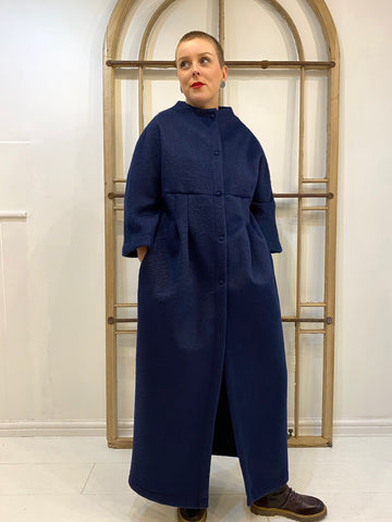 Emma Long Fitted Coat - Blue