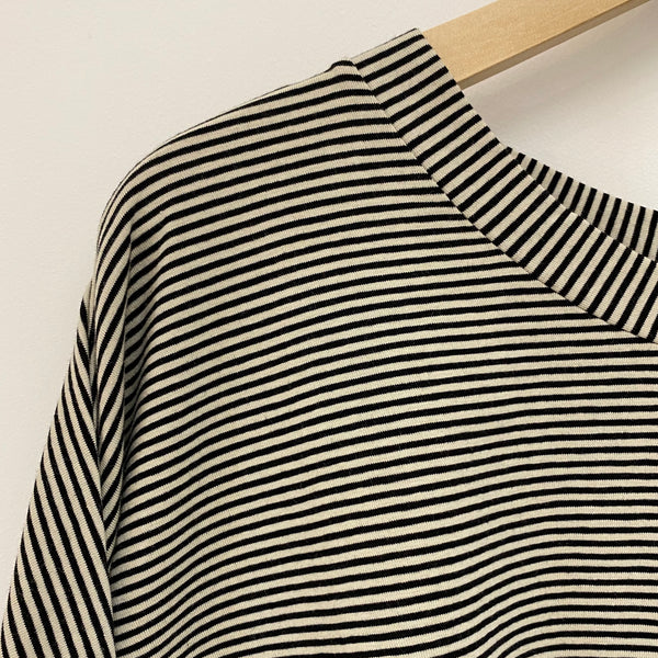 B05 Fine Stripe Boxy Long Sleeved T-shirt - Black & Stone