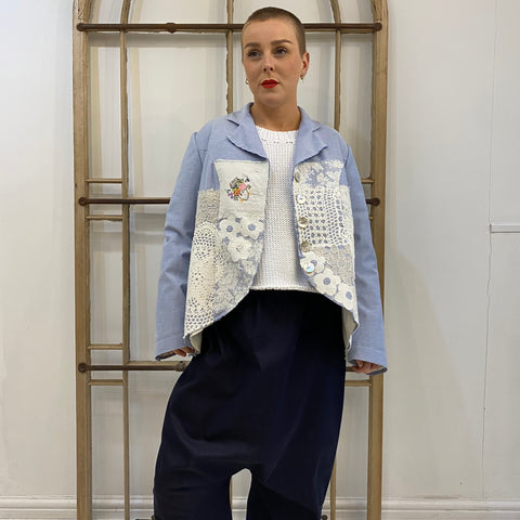 Appliqué Damask Jacket - Blue