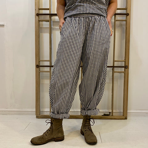 Vogeltung Gingham Trousers - Navy & White
