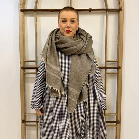#50 Herringbone Wool Shawl - Khaki & Natural