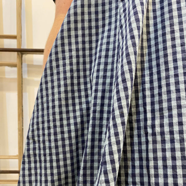 Stammild Short Sleeve Gingham Dress - Navy & Blue
