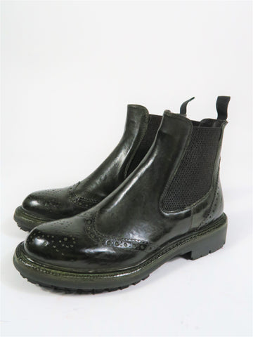 11096 Brogue Chelsea Boot in Olive